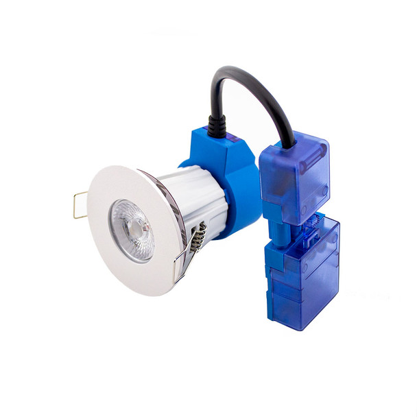 10W Dimmable IP65 & Fire Rated LED Downlight with Flat White Bezel 4000K