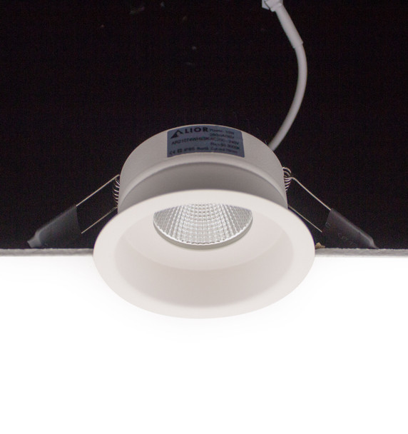 Round Baffle Fire Rated 10W Dimmable LED Recessed Downlight 3000K IP65 in Matt White