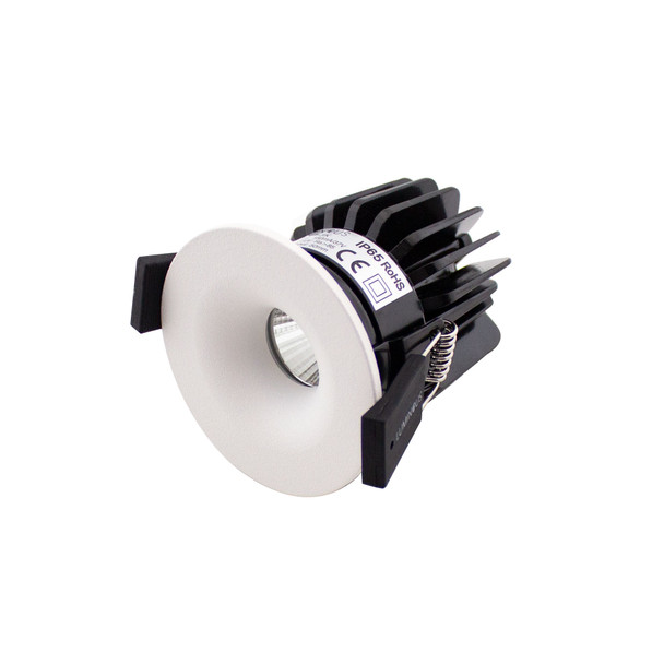 Mini Round Fixed 6W Dimmable LED Downlight 3000K IP65 & Fire Rated in Matt White