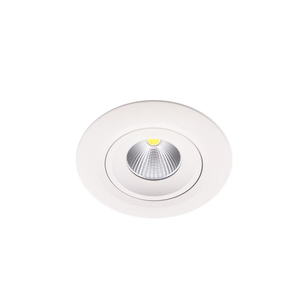 Large Tiltable 10W Dimmable LED Downlight 3000K IP44 in Matt White