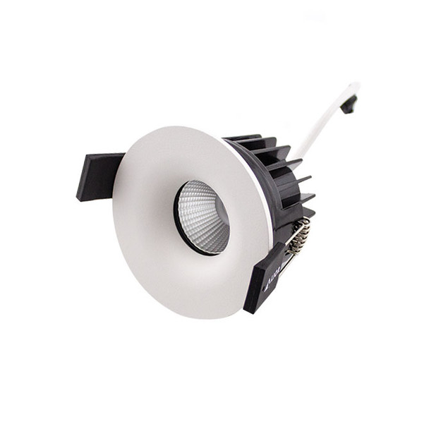 Fixed 10W Dimmable LED Downlight 3000K IP65 & Fire Rated in Matt White Low Profile