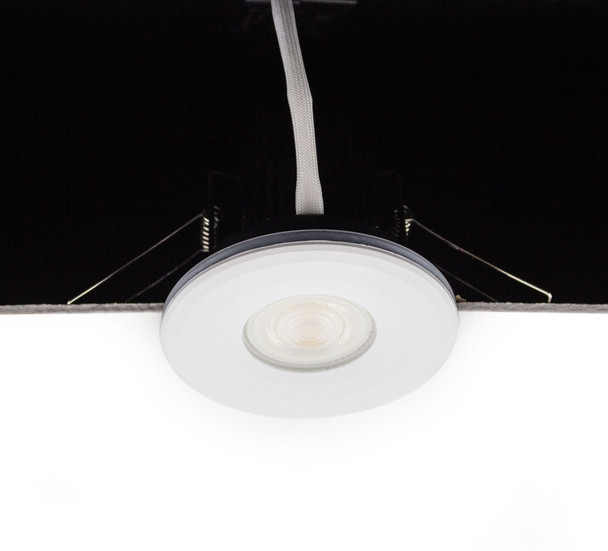 8W Dimmable IP65 & Fire Rated LED Downlight with Flat White Bezel CCT