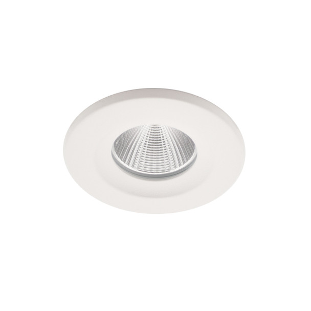 8W Dimmable LED Downlight with Interchangable Bezel 3000K IP65 & Fire Rated in Matt White