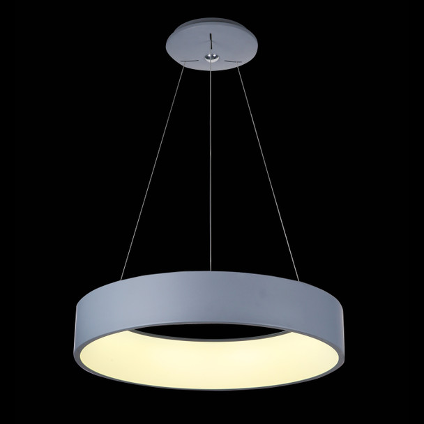 Contemporary Round Pendant LED Light in Grey Finish