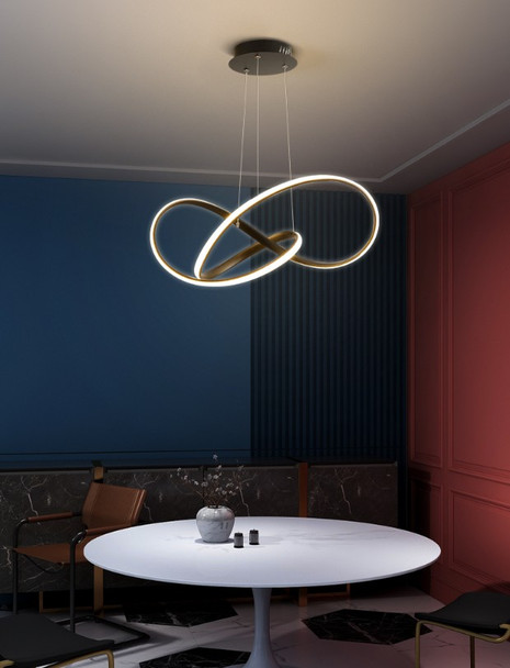 Modern Contemporary Dimmable Twisted LED Pendant Light in Dark Bronze