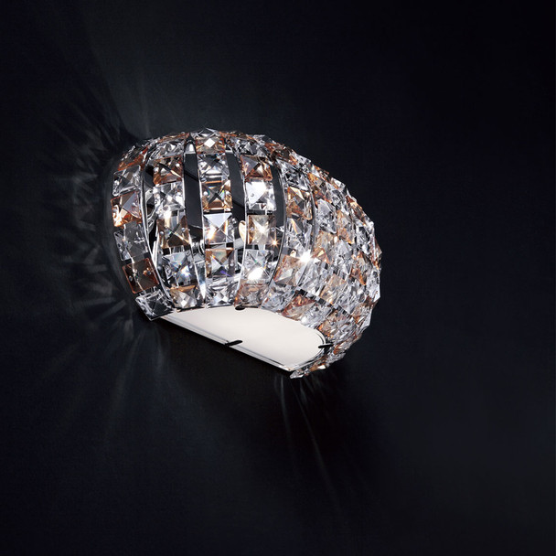 Clear Crystal Wall Lamp in Gilded Steel Finish