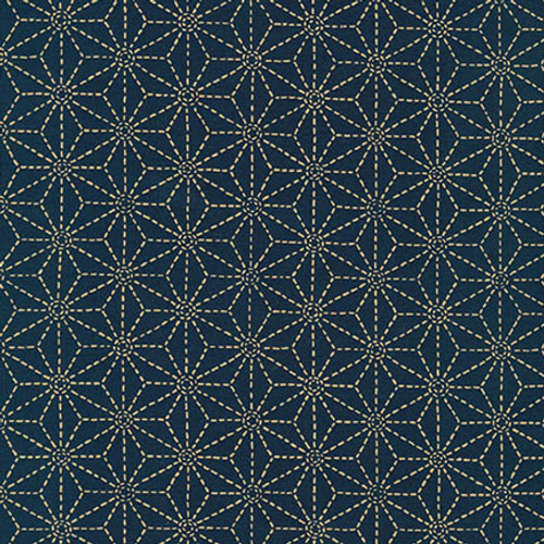Sevenberry Kasuri with Stars ,Navy - Sold by 1/4 meter