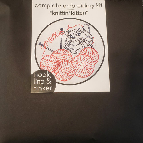 """Knitten Kitten"""" Embroidery Kit by Hook, Line and Tinker"""