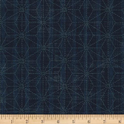 Sevenberry Nara Homespun, Geometric Indigo  Sold by the 1/4 m