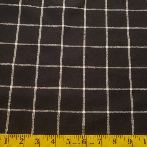 Essex Yarn Dyed Linen/Cotton - Black Windowpane plaid, by Robert Kaufman - Sold by the 1/4 meter