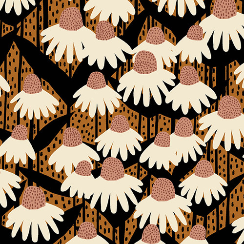 Coneflower - Chestnut, Perennial by Sarah Golden, Andover Fabrics - Sold by the 1/4 meter