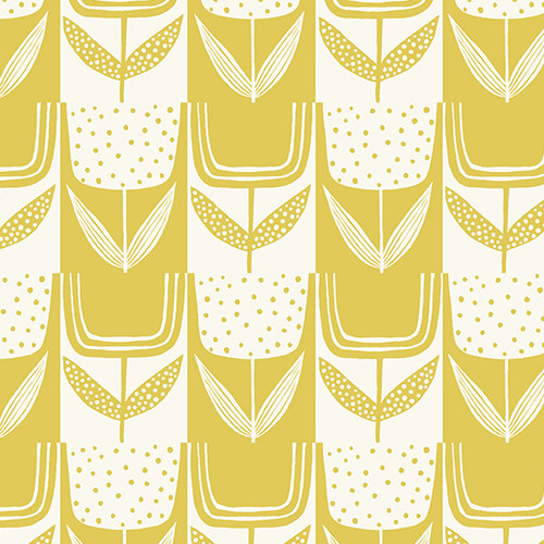 Patchwork Tulips - Lemon Meringue, Perennial by Sarah Golden, Andover Fabrics - Sold by the 1/4 meter