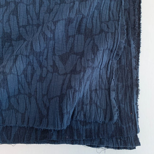 Jacquard Linen/ Cotton Blend - Navy