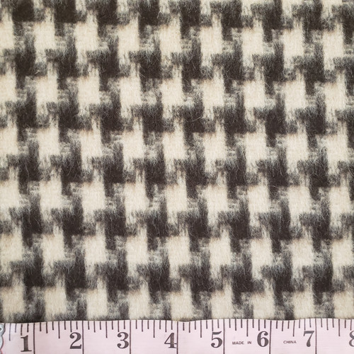 Chocolate and Cream Houndstooth Wool/Mohair Coating - Sold by the 1/4 m