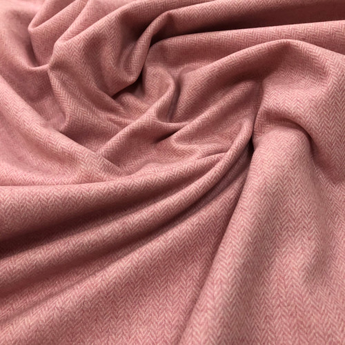 Pink Herringbone Midweight Wool- Sold by the 1/4 m