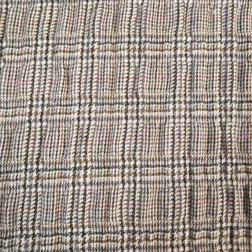 Crinkled Wool Plaid -in Beige, Black, Grey, Burgundy sold By 1/4 meter