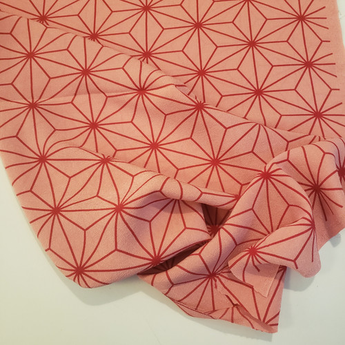 Geometric Hemp Leaf in Pink- Chirimen, by Kokka - (Sold by the 1/4 meter)