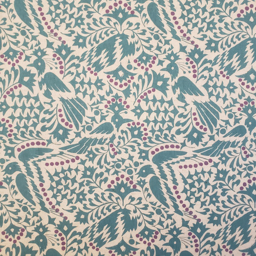 Fabric Caravan, Shangri-La  Cotton-Linen, Light-Weight Canvas in Teal by Kokka - sold by the 1/4 meter