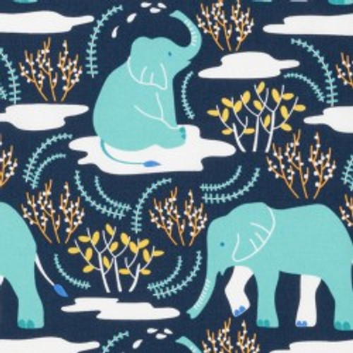 Wildlife Treasures, Elephant Blue -  Quilting Cotton -Sold by the 1/4 meter