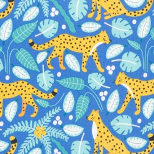 Wildlife Treasures, Leopards Bright -  Quilting Cotton -Sold by the 1/4 meter