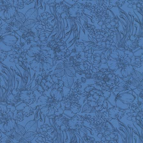 Blueberry Floral , Petal Floral- Cotton Lawn (Sold by the 1/4 meter)