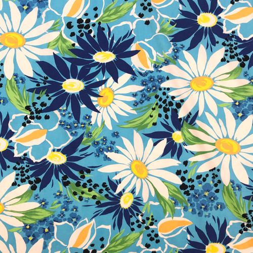 90's Daisy Flower Cotton Sateen (Deadstock)-  Sold by the 1/4 meter