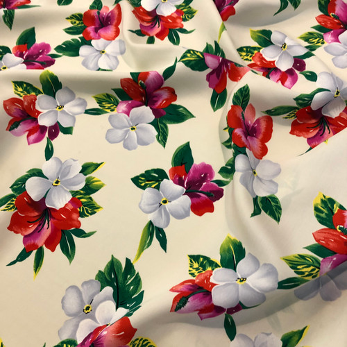 90's Hawaiian Flower 100% Silk (Deadstock)-  Sold by the 1/4 meter