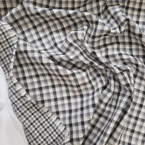 Gingham Check,  2-Sided Double Gauze in Black and Cream - sold by the 1/4 meter