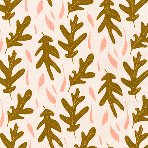 Quarry Trail -  Champaign Oak Leaves - Linen/Cotton - Sold by the 1/4 meter