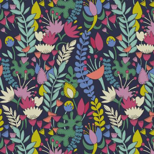 Navy Florabundant by Windham - Cotton Lawn (Sold by the 1/4 meter)