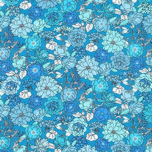London Calling Blue Jay by Sevenberry - Cotton Lawn (Sold by the 1/4 meter)