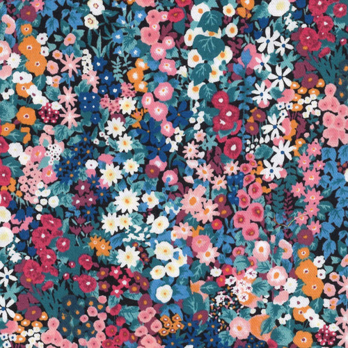 Nostalgic Garden, Night, Twill, by Kokka in Pink  sold by the 1/4 meter