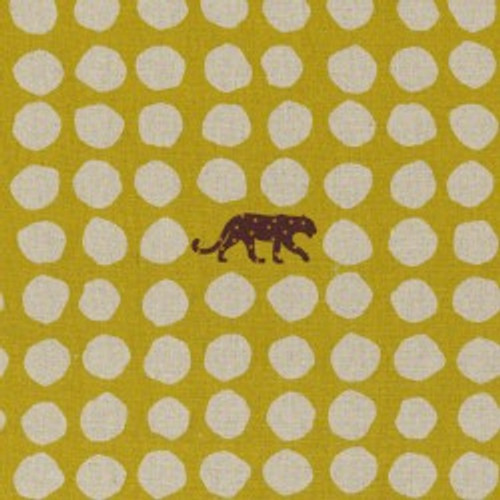 Panthers on Yellow  Cotton-Linen, Light-Weight Canvas by Echino - sold by the 1/4 meter