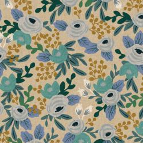 Garden Party Rosa - Blue Unbleached Canvas Fabric - Sold by the 1/4 meter