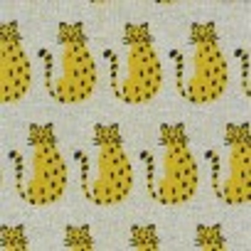 Knit Jacquard Leopards  in Grey by Kokka - sold by the 1/4 meter