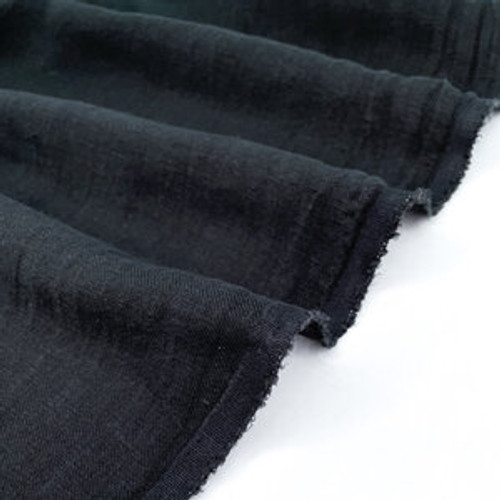 Nomad - Linen Twill with Sand Wash Finish - Black (sold by the 1/4 meter)