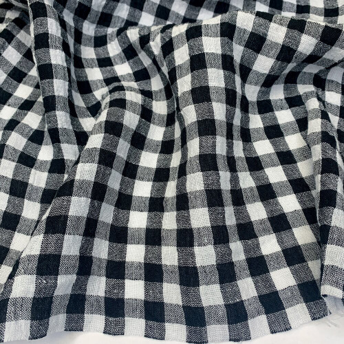Black Check  Crinkle Linen - (Sold by the 1/4 meter)