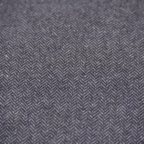 Wool - Black and Grey Herringbone Tweed