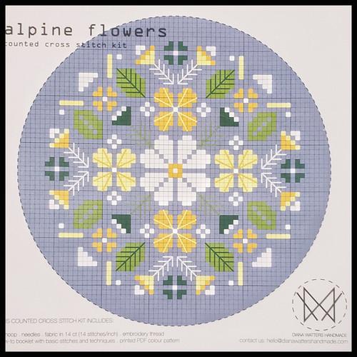 Alpine Flowers Cross Stitch Kit by Diane Watters