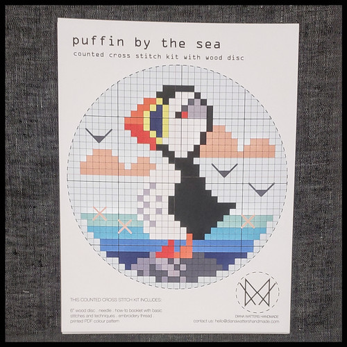 Puffin by the Sea with Wood Disc Cross Stitch Kit by Diane Watters