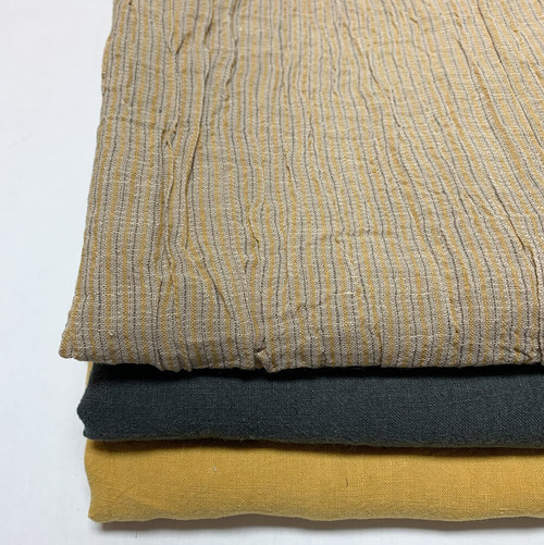 Striped Textured Linen in Mustard with Teal Stripe - (Sold by the 1/4 meter)