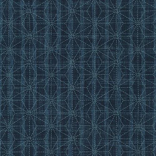 Sevenberry Nara Homespun, Geometric Denim  Sold by the 1/4 m