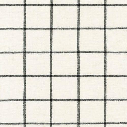 Essex Yarn Dyed Linen/Cotton - Ivory Windowpane plaid