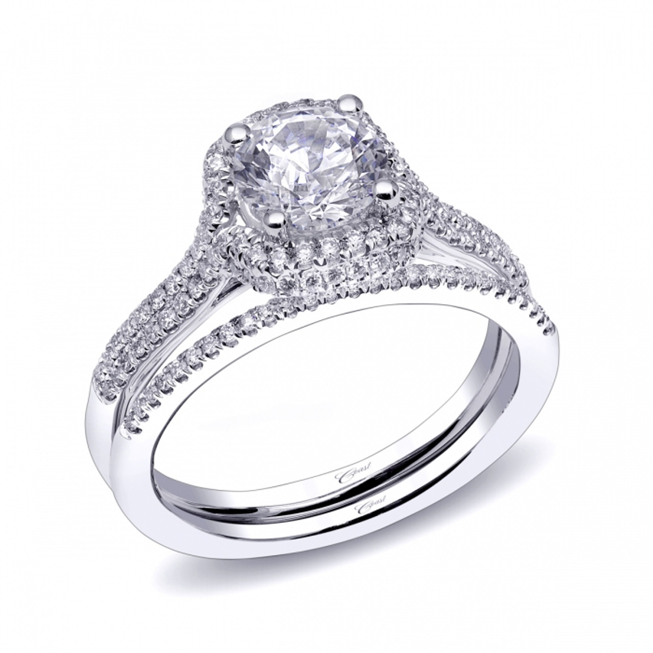 Cushion Double Halo Engagement Ring Setting 0 35ctw With Matching
