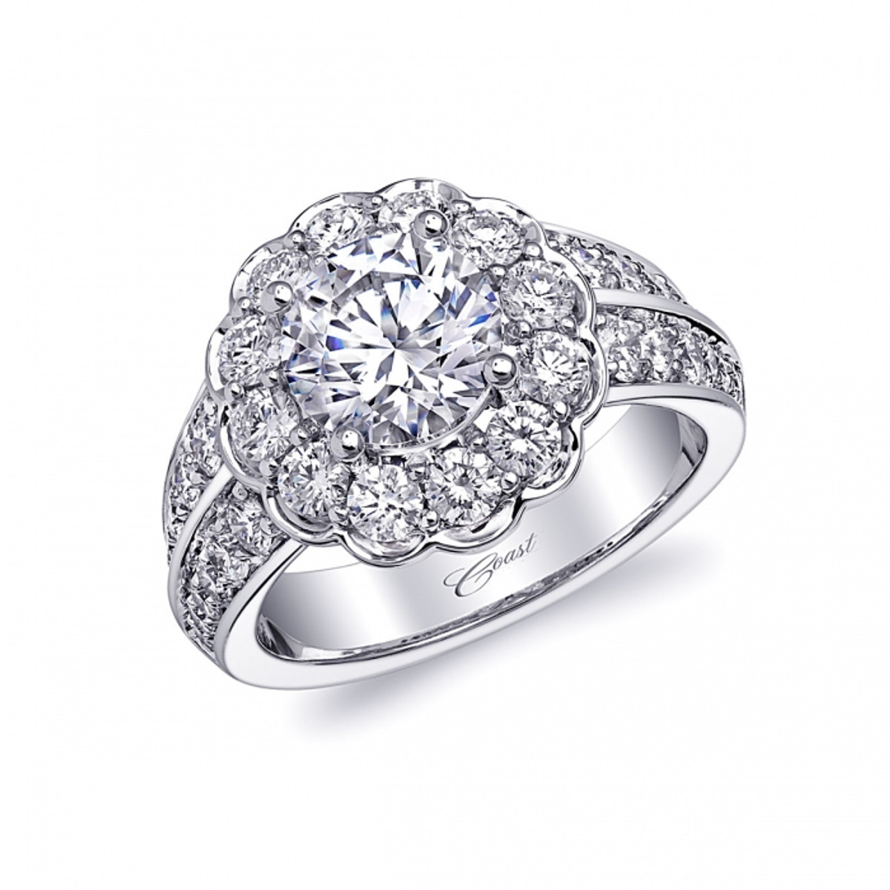 3affe1294a73c Round Flower Halo Double Row Engagement Ring Setting (1.45ctw ...