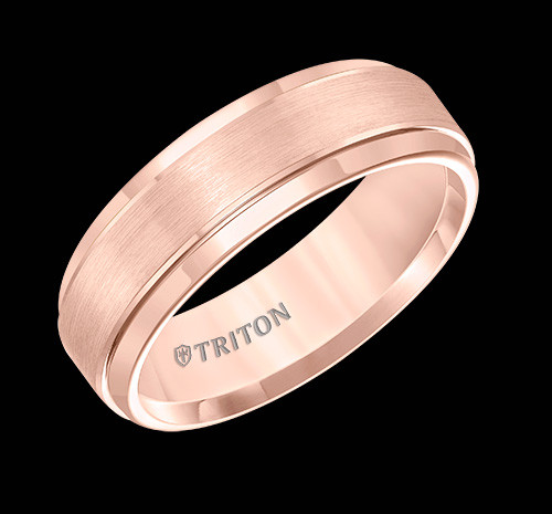 7mm Rose Tungsten Carbide Brush Finish Flat with Bright Round Rims Comfort Fit Wedding Band