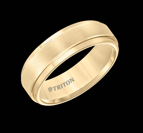 7mm Yellow Tungsten Carbide Brush Finish Flat with Bright Round Rims Comfort Fit Wedding Band