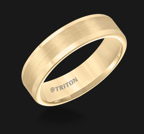 6mm Yellow Tungsten Carbide Satin Finish Flat Center with Bright Polish Round Edges Comfort Fit Wedding Band
