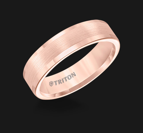 6mm Rose Tungsten Carbide Satin Finish Flat Center with Bright Polish Round Edges Comfort Fit Wedding Band