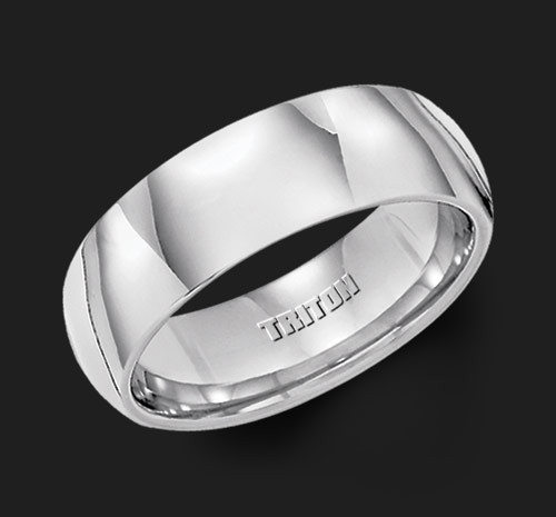 7mm White Tungsten Carbide Bright Polish Domed Comfort Fit Band